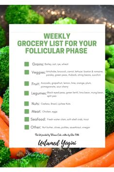 Grocery List for Your Follicular Phase — Untamed Yogini Pms, Grocery Lists, Food Lists, Flo Living, Foods To Balance Hormones, Seed Cycling, Fertility Foods, Micro Nutrients, Food Journal