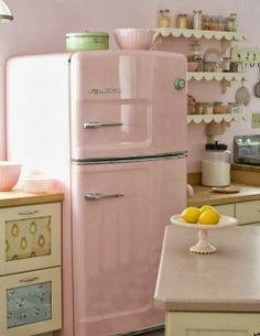 pink retro fridge, scalloped shelves