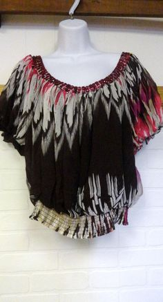 BEBE Muti-colored Beaded Blouse Shirt Top Open Back Sexy Club Women SMall S #bebe #Blouse