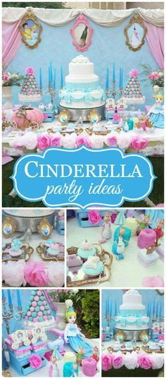 You have to see this stunning Cinderella party! Amazing decorations! See more party planning ideas at CatchMyParty.com!