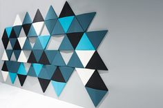 Bits wall by Abstracta sound absorbing wall panels Acoustic Wall Panels, 3d Wall Panels, Sound Absorbing, Wall Cladding, Sound Proofing, Paint Designs, Wood Wall Art, Diy Wall, Geometric Shapes