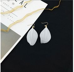 Generic Feather_ earrings Earring eardrop _Korean_long_section_of new ear fall_temperament_gliding_gemstone ear Nail earrings women girl _no hair clip _minimalist_ earrings ** Continue with the details at the image link. #hairrepair