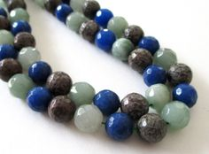 Agate Faceted Round Beads  Round Ball Agate  by BijiBijoux on Etsy