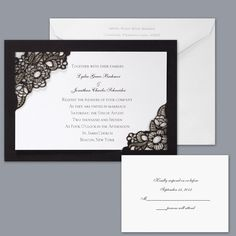 Romantic Black White Invitations by David's bridal Invitations Reply Cards Wedding Invitations Photos & Pictures - WeddingWire.com