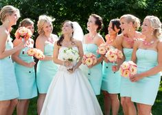 Love the bridesmaids dresses and bouquets.