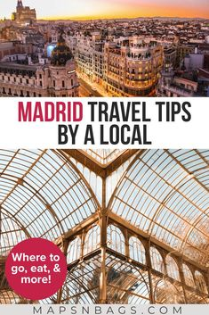 Traveling to Madrid soon? Then be sure to read these excellent Madrid travel tips on places to go, things to do, how to get around, and where to find excellent food. Base your itinerary on these tips and you won't regret it. Spain Travel Guide, Europe Travel Tips, European Travel, Travel Destinations, Travel Hacks, Travel Packing, Solo Travel, Budget Travel, Travel Ideas