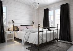 Bedroom with a luxurious feel. Honka log homes.