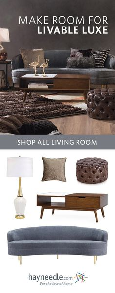 Live the (attainable) life of luxury with simple pleasures and opulent décor. Drape your living room in decadent fabrics such as velvet, faux fur, and leather and team with mid-century pieces and a toned-down color palette to keep it casual.