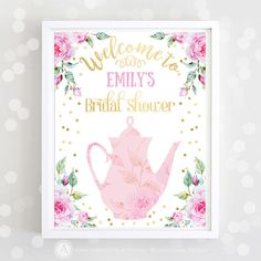 Bridal Welcome Sign Printable Pink Gold Bridal Shower Print tea party Decor Garden bridal shower decorations INSTANT DOWNLOAD Welcome Poster