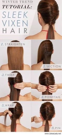 18 Simple Office Hairstyles for Women: You Have To See Retro Haar Tutorial Office Hairstyles, Up Hairstyles, Pretty Hairstyles, Workout Hairstyles, Simple Hairstyles, Simple Hairdos, Easy Winter Hairstyles, Easy Ponytail Hairstyles, Easy Professional Hairstyles