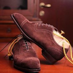 #meccariello #aurum made to measure model Romulus, a #captoe #adelaideshoes made with reverse #calfskin #suede