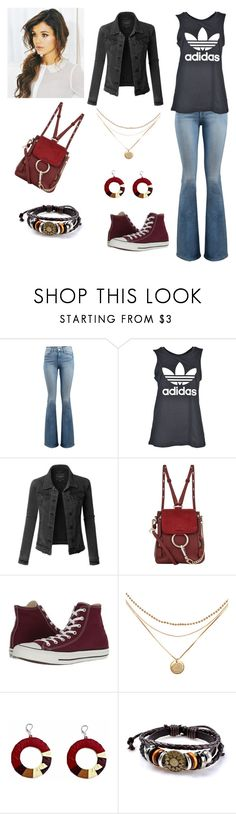"""""""5 Minutes To Get Ready For School"""" by amartin10 ❤ liked on Polyvore featuring Frame, adidas, LE3NO, Chloé and Converse"""