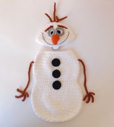Olaf Snowman Frozen Crochet Hat With  Snuggle by KernelCrafts