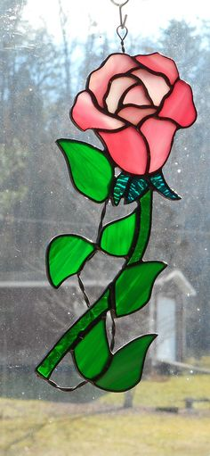 Stained Glass Rose with a Vine Suncatcher Handcrafted in