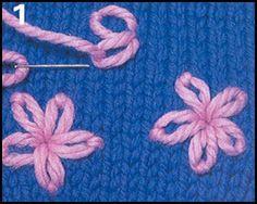 Decorative embroidery Source by Loom Knitting, Knitting Stitches, Baby Knitting, Knitting Patterns, Crochet Patterns, Wool Embroidery, Embroidery Stitches, Crochet Flower Tutorial, Yarn Thread