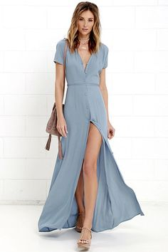 Glamorous Vida Bonita Dusty Blue Maxi Dress at Lulus.com!
