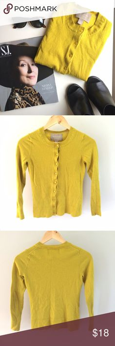 Chartreuse Merino Cardigan Such a ladylike addition to your closet! Work this 100% fine merino wool cardigan into your office wear rotation or pair it with a little black dress and heels. Small hole on the back, where the tag is (pictured), but otherwise good condition. Pit to pit: 15in, shoulder to hem: 21in (runs a bit small). Banana Republic Sweaters Cardigans