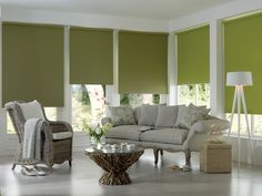 Add a splash of colour to your windows. Our green roller blinds really bring this room to life www.zodiacinteriors.co.uk