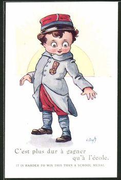 Künstler-AK A. Wuyts: Junge als Soldat trägt einen Orden an der Uniform, Kinder…