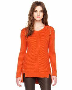 MICHAEL Michael Kors  Stud-Trim Ribbed Sweater.