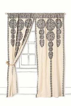Marrakech Curtain - Anthropologie.com - I think this can be done inexpensively with muslin & stencils and you can dye it to any color before stenciling. Beaded or pom pom trim could be added too and maybe shears underneath. I think a couple of ceiling medallions cut in half could work above for detail or plain trim with wood cutouts for a valance.