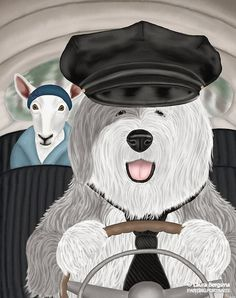 """Old English Sheepdog"" artwork - Bob was born into a family of chaueffers. He works for Ms. Daisy, driving her to the market so she can do her shopping. On the weekends he takes her to the country to graze."