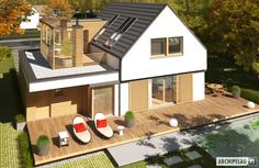 Projekty domów ARCHIPELAG - Markus G1 ENERGO PLUS House Structure Design, Modern House Design, House Deck, Facade House, Family House Plans, Fancy Houses, House Extensions, Home Fashion, Exterior Design