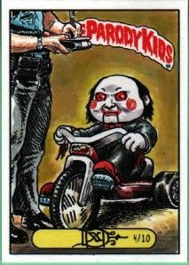 Garbage pail kids sketch card art billy from saw Garbage Pail Kids Cards, Children Sketch, Horror Movie Characters, Different Kinds Of Art, Stranger Things Funny, Horror Posters, Kids Stickers, Halloween Horror, Classic Toys