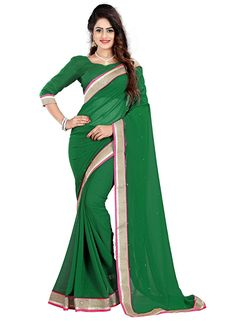 Shop Online Green Georgette #CasualSaree @Chennaistore.com