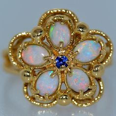 1 CT AUSTRALIAN OPAL & TANZANITE RING 14K YELLOW GOLD NATURAL FINE VIVID CLUSTER