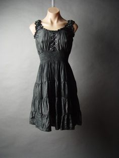 Peasant Corset Victorian Medieval Goth Wicca Off Shoulder Tiered Chemise Dress S