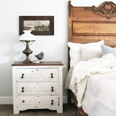 Love the fancy bed and tiny chest of drawers.