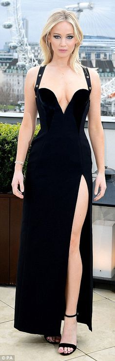 The 27-year-old stunner looked incredible in the plunging black gown which boasted a near-identical shape to that worn by the Bedazzled beauty, 52