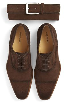 Magnanni Suede Belt & Cap Toe Oxford (Men) available at #Nordstrom