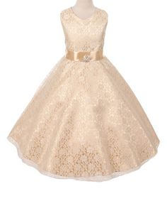 Another great find on #zulily! Champagne Satin A-Line Dress - Girls #zulilyfinds