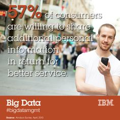 """Let's use #bigdata for #socialgood >>  """"57% of consumers are willing to share additional personal information in return for better service.""""  #hadoop4good"""