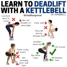 The Kettlebell Deadlift is one of the most welcoming deadlift variations as itss much easier to keep the weights lower and more manageable. You can use a dumbbell too. Make sure you aim to make it close to the one on the bottom right. Hips above knees Kettlebell Deadlift, Kettlebell Training, Kettlebell Challenge, Kettlebell Circuit, One Leg Deadlift, Pilates Videos, Yoga, Deadlift Variations, Total Body Workouts