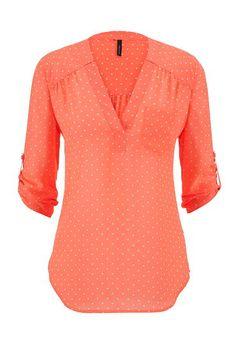 dot print v-neck chiffon blouse (original price, $29) available at #Maurices