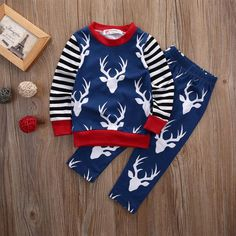 Baby Boy Deer Striped Long Sleeve and Pants Outfit