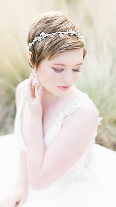 Gown and hairstyle pairings - Pixie hair with headband featuring Phyllis Wedding Dress by Maggie Sottero