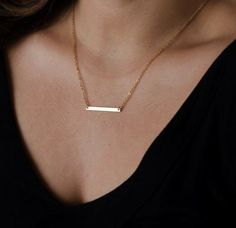 """* Gold Minimalist Bar necklace * Length: 17 inches * Pendant size: 1"""" long * Will ship within 1-2 business days (from US) * Great gift ideas - mother's day, birthday, Christmas, Thanksgiving, annivers More"""