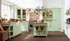 house design idea of Mint Green Country Kitchen Decor Modern, and interior design about Mint Green Country Kitchen Decor Modern Green Country Kitchen, Country Kitchen Tiles, Country Kitchen Designs, Green Kitchen, Cottage Kitchens, Modern Farmhouse Kitchens, Farmhouse Kitchen Decor, Kitchen Interior, Home Kitchens