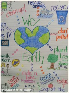 Earth Day anchor chart, craftivity, and freebie worksheets