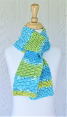 Girl's Teal Scarf Green Scarf Striped Scarf Accessory