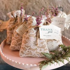 Burlap and Lace Favor Bags for a rustic country wedding reception. #wedding #countrywedding