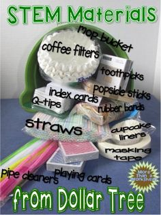 Dollar stores STEM Materials from Dollar Tree .including Jack and the Beanstalk FREE STEM activity Stem Science, Preschool Science, Teaching Science, Science For Kids, Science Experiments, Weird Science, Elementary Science, Science Ideas, Science Classroom