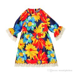 little girls dresses kids dress for party clothes 2017 new fashion flowers girl dress high quality cute floral kids girl costume