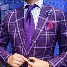 30 Trendy Ideas For Wedding Suits Men Black Purple Purple Tuxedo, Purple Suits, Windowpane Suit, Plaid Suit, Mens Fashion Suits, Mens Suits, Groomsmen Fashion, Men's Fashion, Purple Fashion