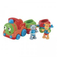 This toy train for babies encourages fine motor skills.