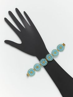 Miguel Ases Turquoise  Gold Beaded Flower Bracelet